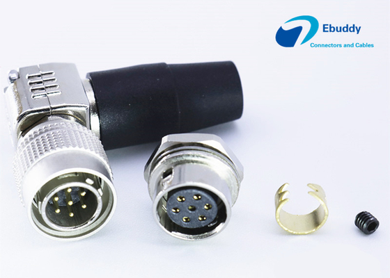 7 Pin Hirose circular connectors right angle male plug HR10A-10R-7S